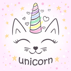 cute unicorn cat. For the design of posters, T-shirts.