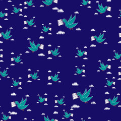 Dove carrying envelope pattern repeat seamless in blue color for any design.Bird delivers a message. Post pigeon