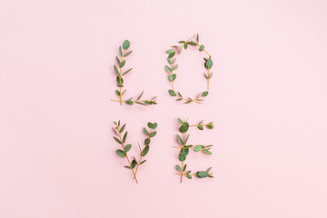 """Word """"Love"""" made of eucalyptus branches on pastel pink background. Valentine's Day composition. Flat lay, top view."""