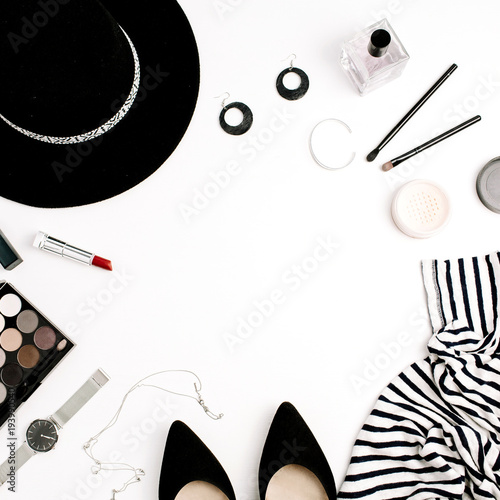 Woman fashion flatlay. Frame of modern clothes, accessories and ...