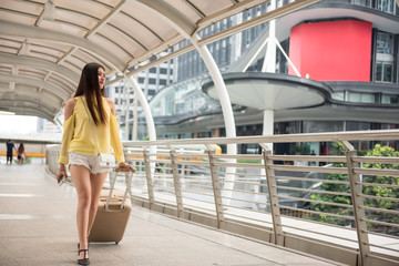young Female traveler in Bangkok city