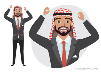 Arab businessman character is happy and smiling. Emotion of joy and glee on the man face. The man portrait