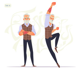Senior fashion man in different emotions and expressions. Business person in modern fashion look.