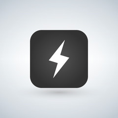lightning application button icon. vector illustration isolated on white.