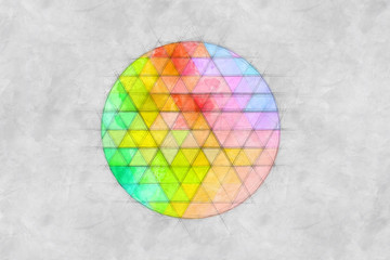 Abstract Circle Made Of Colorful Triangles Sketch