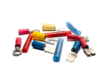 Electrical wire connector, Butt Splice connector, Ferrules, Fork Terminal, Pin Terminal, Ring Terminal, Wire Disconnect on white background.