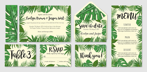 cards set with watercolor palm leaves; wedding design for invitation, Rsvp, menu, table number thank you, envelope, save the date guest card & label set