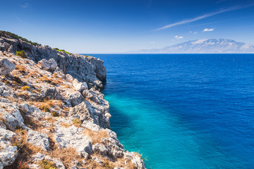 Coastal landscape with coastal rocks, Greece
