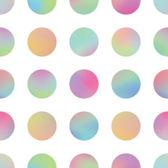Wall Mural - Holographic circles texture vector seamless pattern