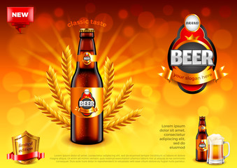 Beer ads. Bottle and wheats on gold bokeh vector background