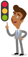 Vector illustration of a friendly looking asian cartoon businessman pointing at traffic light isolated on white background