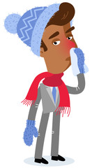 Vector illustration of an asian cartoon businessman with runny nose wearing scarf and winter clothes isolated on white background