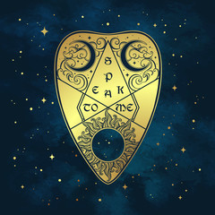 Gold divination board planchette over the blue sky and stars. Antique style boho chic sticker or fabric print design vector illustration.