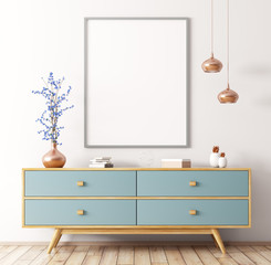 Interior with wooden dresser and poster 3d rendering