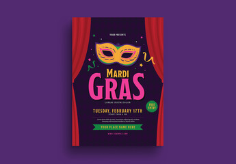 Mardi Gras Event Flyer Layout