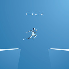 Artificial intelligence and future technology vector concept. Ai robot jumping over gap as symbol of overcoming challenges and finding solutions with help of ai.