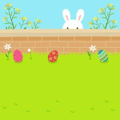 Keuken foto achterwand Lime groen Happy Easter eggs and bunny