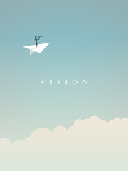 Business vision vector concept with businesswoman flying above clouds in a paper plane with telescope.