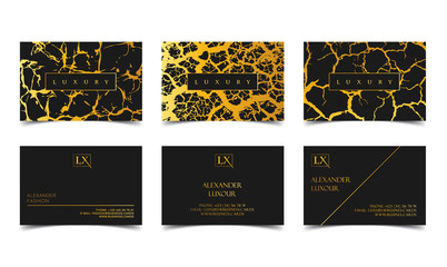 Luxury business cards set vector template, banner and cover with marble, lightning or cracked texture and golden foil details on black. Branding and identity graphic design