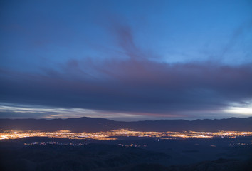 Distant City Lights & Mountain Landscape at Night, Key's View, Joshua Tree