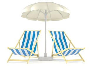 Umbrella with deck chairs