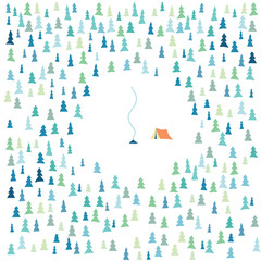 Summer forest nature camping vector background with trees and tent with campfire. Symbol of outdoor activity, hiking, trekking, wanderlust.