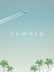 Summer traveling vector poster template with airplane flying over palm trees.