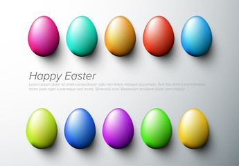 Digital Easter Card Layout with Multicolored Eggs