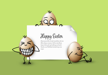 Digital Easter Card with Whimsical Eggs 2