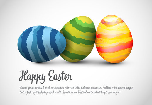 Digital Easter Card Layout with Striped Eggs