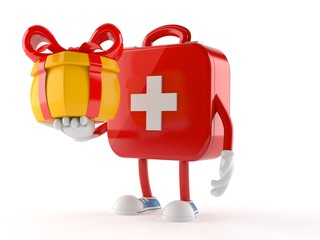 First aid kit character holding gift