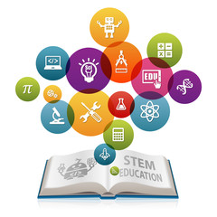 STEM Education Concept with open book. Science Technology Engineering Mathematics.