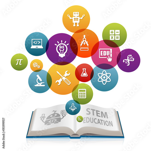 "Science Technology Engineering Math: ""STEM Education Concept With Open Book. Science Technology"