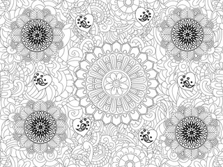 Vector Monochrome Floral Pattern. Hand Drawn Floral Texture, Decorative Flowers, Coloring Book