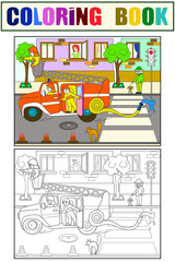 Fire engine is driving around the city. Nursery tale, cartoon, coloring black lines on a blank background. Vector illustration