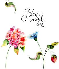 Beautiful wild flowers with title You and me