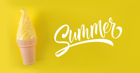 Yellow ice cream on a yellow background. Summer text