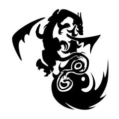 Dragon tattoo. Vector illustration, black and white graphics. Tribal Dragon. Black and white dragon tattoo, black dragon on white background