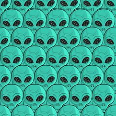 Aliens seamless pattern. Vector background.