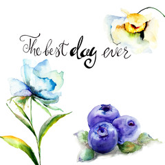 Summer flowers and Blueberries with title the best day ever
