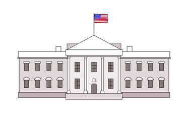 Washington DC White House building outline simple icon with USA flag on it. Vector american landmark architecture politic placard illustration