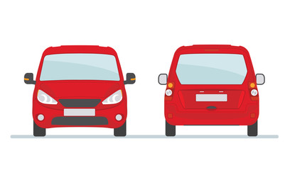 Red car isolated on white background. Front and rear view. Vector illustration.