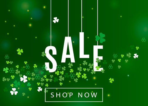 Beautiful ireland background for st. Patrick's day sale poster or banner design. Vector horizontal illustration with clover leaves and white shamrocks silhouette on green backdrop