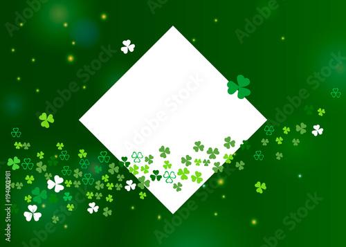 Beautiful clover shamrock leaves banner template for St
