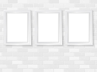 Frames on brick wall simple interior template vector white
