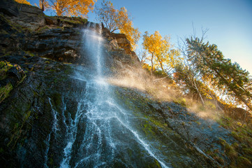 Romkerhaller Waterfall in the National Park Harz in Autumn