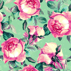 Floral, rose, seamless pattern painted with watercolors.
