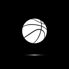 Vector white basketball ball line icon isolated on black background.