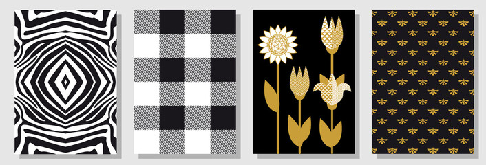 Set of black, white and golden A4 covers. Checkered pattern, background with lilies, abstract flowers.