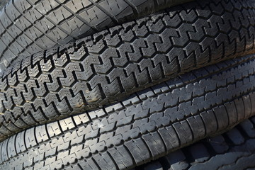Row of used car tires